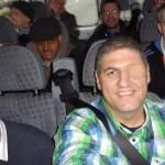 En route in the minibus